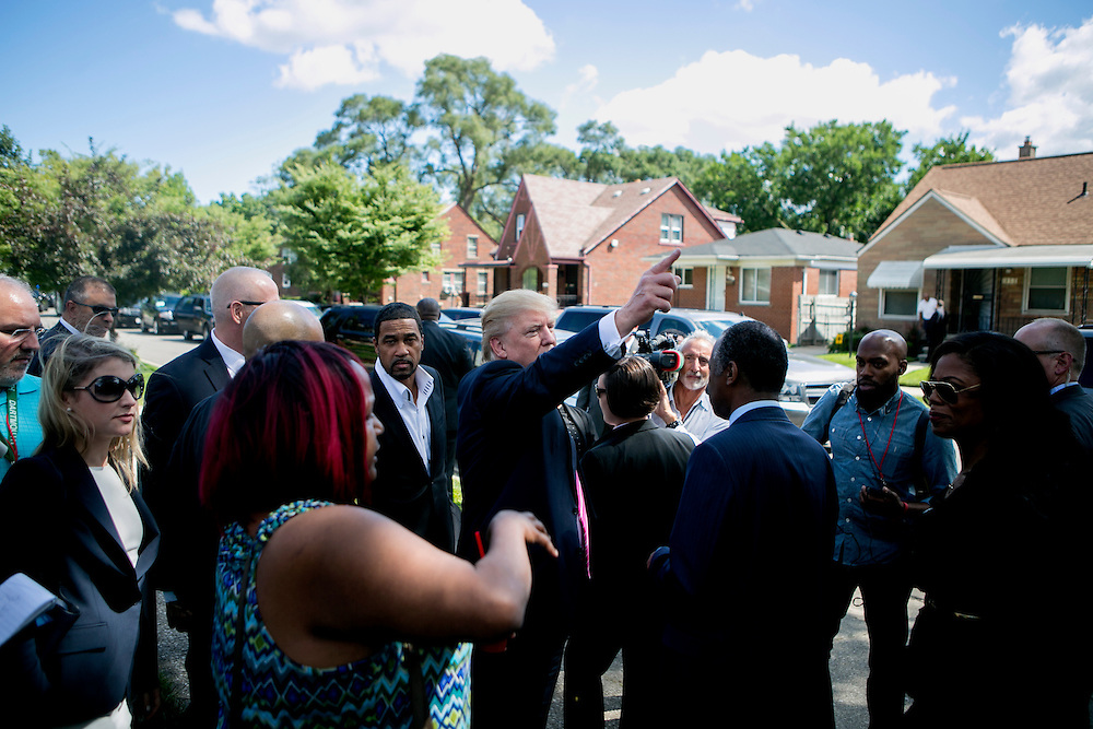 DETROIT, MI - SEPTEMBER 3, 2016: Republican presidential nominee Donald J. Trump visits the childhood home of Dr. Ben Carson and meets the current homeowner, Felicia Reese, in Detroit, Michigan. CREDIT: Sam Hodgson for The New York Times.