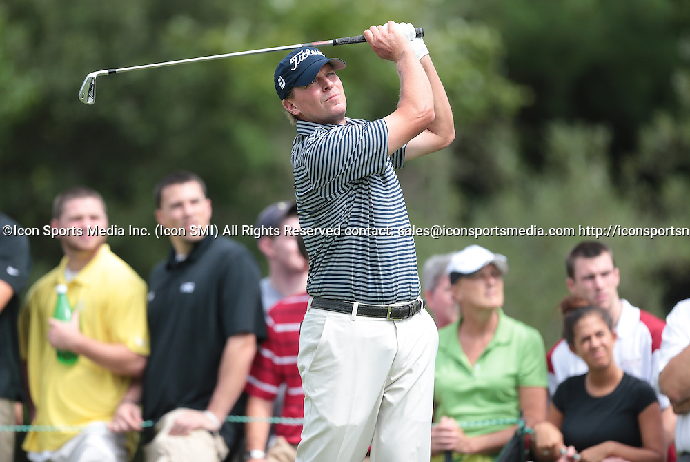 September 2, 2013: Steve Stricker watches his drive on 3 during the Final Round of the Deutsche Bank Championship at TPC Boston, Norton, MA on September 2, 2013.