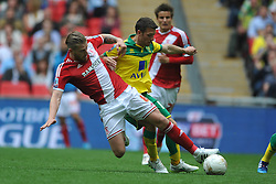 Adam Clayton Middlesbrough battles with Norwich Wes Hoolahan, Middlesbrough v Norwich, Sky Bet Championship, Play Off Final, Wembley Stadium, Monday  25th May 2015