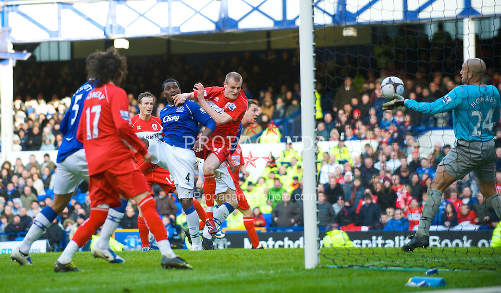 LIVERPOOL, ENGLAND - Sunday, March 8, 2009: Middlesbrough's David Wheater scores the opening goal against Everton during the FA Cup Quarter-Final match at Goodison Park. (Photo by David Rawcliffe/Propaganda)