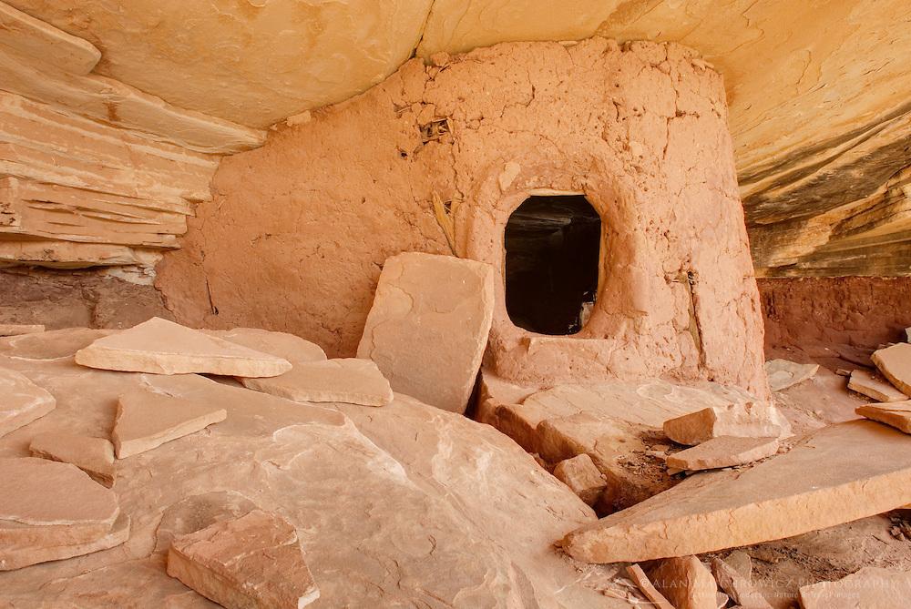 Anasazi granary ruins, Road Canyon of Grand Gulch Primitive Area, Cedar Mesa Utah Bears Ears National Monument