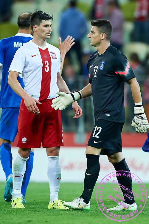 (R) goalkeeper Markos Vellidis from Greece thanks for the game to (L) Marcin Komorowski from Poland during international friendly soccer match between Poland and Greece at PGE Arena Stadium on June 16, 2015 in Gdansk, Poland.<br /> Poland, Gdansk, June 16, 2015<br /> <br /> Picture also available in RAW (NEF) or TIFF format on special request.<br /> <br /> For editorial use only. Any commercial or promotional use requires permission.<br /> <br /> Adam Nurkiewicz declares that he has no rights to the image of people at the photographs of his authorship.<br /> <br /> Mandatory credit:<br /> Photo by &copy; Adam Nurkiewicz / Mediasport