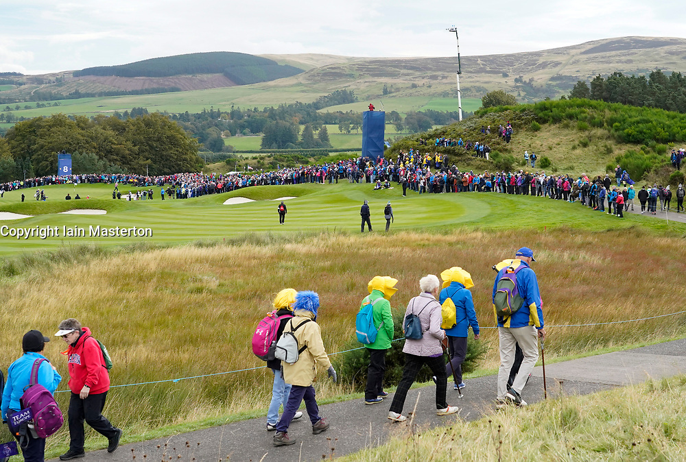 Auchterarder, Scotland, UK. 14 September 2019. Saturday morning Foresomes matches  at 2019 Solheim Cup on Centenary Course at Gleneagles. Pictured; Spectators walk on path beside the 8th hole. Iain Masterton/Alamy Live News