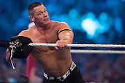 John Cena enters the ring during WrestleMania on April 3, 2016 in Arlington, Texas.