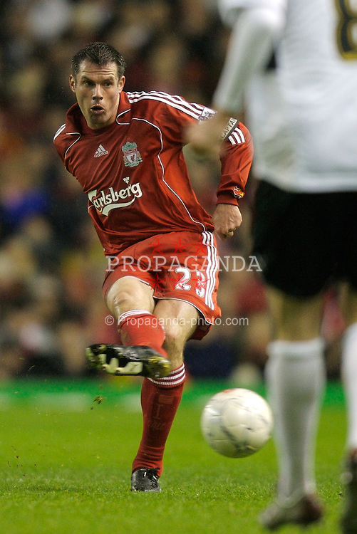 LIVERPOOL, ENGLAND - Tuesday, January 15, 2008: Liverpool's Jamie Carragher, making his 500th career appearance for the Reds, in action against Luton Town during the FA Cup 3rd Round Replay at Anfield. (Photo by David Rawcliffe/Propaganda)