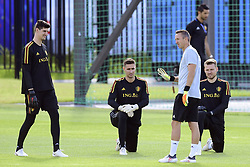 July 8, 2018 - Moscou, Russie - Erwin Lemmens goalkeeping coach of Belgian Team talking to Thibaut Courtois goalkeeper of Belgium, Koen Casteels  goalkeeper of Belgium and Simon Mignolet goalkeeper of Belgium (Credit Image: © Panoramic via ZUMA Press)