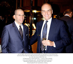 Left to right, MR JONATHAN NEWHOUSE a member of the family that owns Conde Nast and MR NICHOLAS COLERIDGE,at a party in London on 15th October 2002.		PEC 14