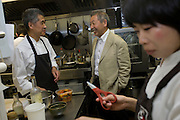 Japanese entrepreneur, Tetsuro Hama with sushi chef and old friend, Kaoru Yamamoto at his 'So' restaurant business, Soho, London.