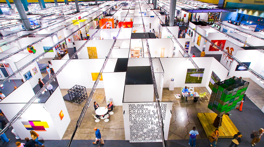 Aerial view of the sprawling main exhibition hall, Art Basel Miami Beach 2005