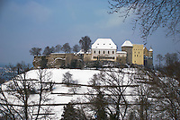 Lenzburg Castle in the snow on it's hill.  Aargau, Switzerland.