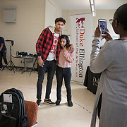WASHINGTON, DC - MAR23: Washington Wizard Kelly Oubre, takes a selfie with senior Kymora Grooms, at the Duke Ellington School of the Arts, March 23, 2017. (Photo by Evelyn Hockstein/For The Washington Post)