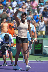 March 26, 2018 - Miami, FL, United States - KEY BISCAYNE, FL - March, 26: Sloane Stephens celebrating here, defeats Garbine Muguruza (ESP)  63 64 during the 2018 Miami Open on March 24, 2018, at the Tennis Center at Crandon Park in Key Biscayne, FL. (Credit Image: © Andrew Patron via ZUMA Wire)