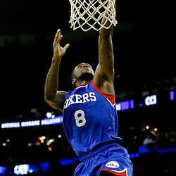Nov 16, 2013; New Orleans, LA, USA; Philadelphia 76ers shooting guard Tony Wroten (8) shoots against the New Orleans Pelicans during the first half of a game at New Orleans Arena. Mandatory Credit: Derick E. Hingle-USA TODAY Sports