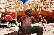 Man drinking, Middle East Tek, Wadi Rum, Jordan, 2008