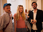 CAMERON IRVING; PHILIPPA HORAN; MATTHEW HUSTON, Private view and Summer party to celebrate Haunch of Venison's exhibition. Joanna Vasconcelos; I will Survive and Polly Morgan: Psychopomps. Dover st. arts Club. 20 July 2010. -DO NOT ARCHIVE-© Copyright Photograph by Dafydd Jones. 248 Clapham Rd. London SW9 0PZ. Tel 0207 820 0771. www.dafjones.com.