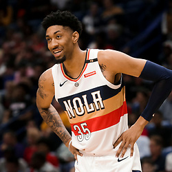 Mar 24, 2019; New Orleans, LA, USA; New Orleans Pelicans forward Christian Wood (35) waits for free throws during the second half against the Houston Rockets at the Smoothie King Center. Mandatory Credit: Derick E. Hingle-USA TODAY Sports