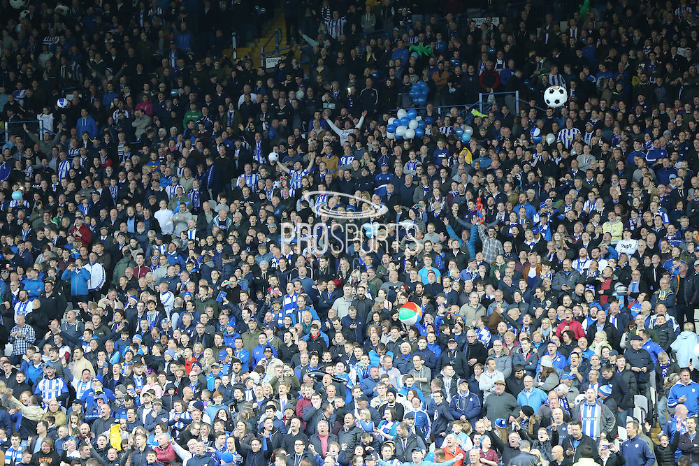 Sheffield Wednesday fans during the Sky Bet Championship Play Off First Leg match between Sheffield Wednesday and Brighton and Hove Albion at Hillsborough, Sheffield, England on 13 May 2016.