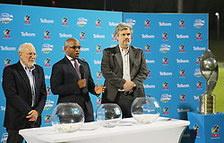 23102018 (Durban) L-R PSL Senior official Professor Ronnie Schloss, PSL communication officer Luxolo September and Telkom head of sponsor Braam Wessels making a quarter finals draw after the first round of the Telkom Knockout concludes on Tuesday night when Amazulu walloped the MTN8 Cup winners Cape Town City 2-0 at the King Zwelithini stadium. Making their way to the quarterfinals was they would be playing against Orlando Pirates.<br /> Picture: Motshwari Mofokeng/African News Agency (ANA)