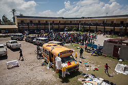 October 7, 2016 - Les Cayes, Haiti - A school is being used as a shelter for victims of hurricane Matthew, in Les Cayes, Haiti, on October 7, 2016. Hundreds of people are staying in the classrooms with their kids. Hurricane Matthew killed almost 900 people and displaced tens of thousands in Haiti before plowing northward on Saturday just off the southeast U.S. coast, where it caused major flooding and widespread power outages. (Credit Image: © Bahare Khodabande/NurPhoto via ZUMA Press)