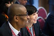 Davos, Graubünden, Sveits, 20170126: Utenriksminister Ine Eriksen Søreide på et ministermøte i regi av WTO. Her snakker hun med Nigerias handelsminister Okechukwu Enelamah. World Economic Forum - WEF. Foto: Ørjan F. Ellingvåg