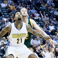 20 November 2016: Denver Nuggets forward Wilson Chandler (21) vies for the rebound with Utah Jazz forward Joe Ingles (2) during the Denver Nuggets 105-91 victory over the Utah Jazz, at the Pepsi Center, Denver, Colorado, USA.