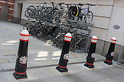 An open-air bike storage facility for city workers at the back of City Thameslink station in the Square Mile, the capital's historic financial district.