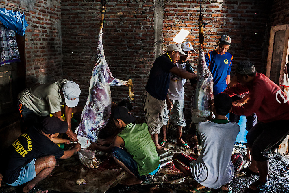 Muslim men peel of goats' skin during Eid Al-Adha celebration while frequently flood hitting the land of Bedono village.