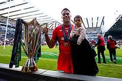 Sean Maitland of Saracens celebrates winning the Heineken Champions Cup after beating Leinster Rugby in the Final - Mandatory by-line: Robbie Stephenson/JMP - 11/05/2019 - RUGBY - St James' Park - Newcastle, England - Leinster Rugby v Saracens - Heineken Champions Cup Final