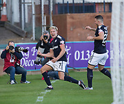 16th September 2017, Dens Park, Dundee, Scotland; Scottish Premier League football, Dundee versus St Johnstone; Dundee's A-Jay Leitch-Smith celebrates after scoring his second goal to put Dundee 2-0 ahead