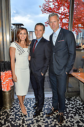 Left to right, JESSICA ENNIS-HILL, RAYNALD AESCHLIMANN and MARK FOSTER at the OMEGA 100 days to Rio Olympics VIP Dinner at Sushi Samba, Heron Tower, 110 Bishopsgate, City of London on 27th April 2016.