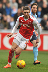 ADAM ARMSTRONG COVENTRY CITY, BATTLES WITH FLEETWOODS VICTOR NIRENNOLD, WES BURNS FLEETWOOD TOWN, Coventry City v Fleetwood Town Ricoh Arena, Sky Bet League One Saturday 27th February 2016