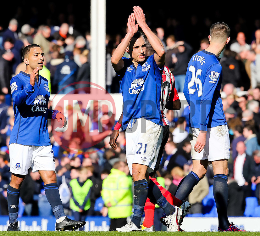 Everton's Aaron Lennon applauds the crowd - Photo mandatory by-line: Matt McNulty/JMP - Mobile: 07966 386802 - 04/04/2015 - SPORT - Football - Liverpool - Goodison Park - Everton v Southampton - Barclays Premier League