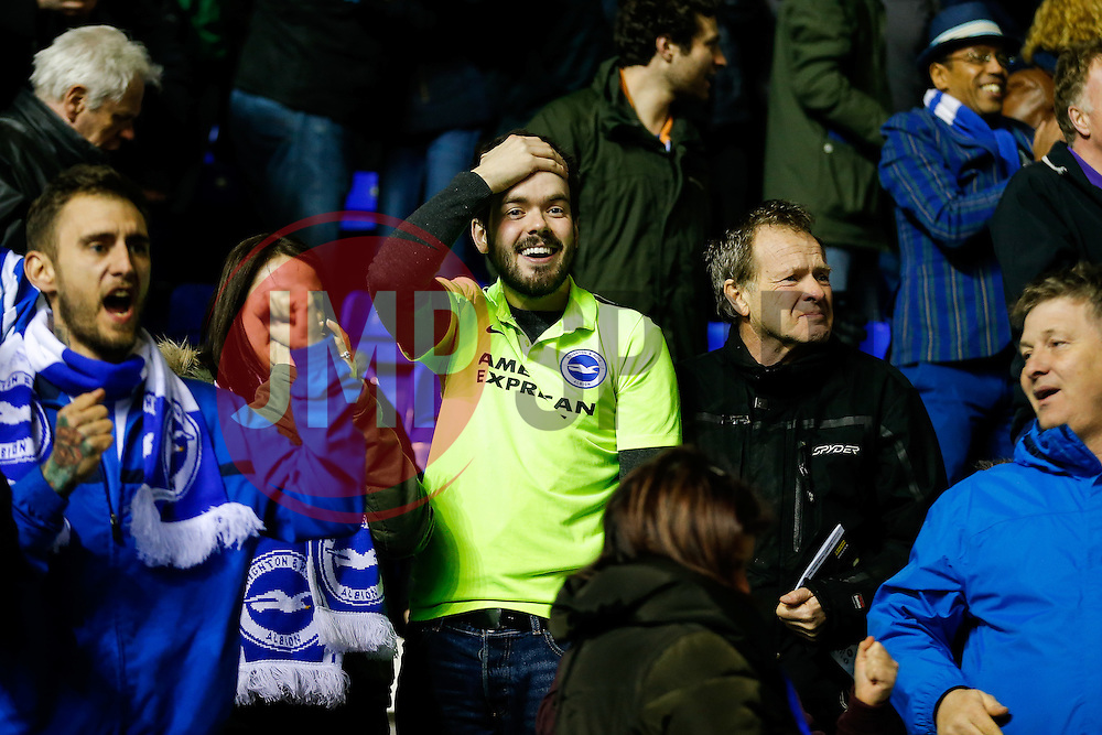 A supporter looks relieved after Brighton win 1-2 - Mandatory byline: Rogan Thomson/JMP - 05/04/2016 - FOOTBALL - St Andrew's Stadium - Birmingham, England - Birmingham City v Brighton & Hove Albion - Sky Bet Championship.