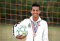 (CH)Alex Gomez, player of the Sunrise Elite U14 soccer team, poses at Flamingo park on April 12, 2012. Staff photo/Cristobal Herrera