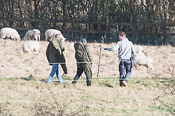 © Licensed to London News Pictures. 18/01/2018. Curridge, UK.  Men carrying tranquilliser rifles and a police officer searcher farmland at the scene in Curridge, Berkshire where police are hunting for a wolf that has escaped from its enclosure at the UK Wolf Conservation Trust nearby. Armed police are on the scene. Photo credit: Ben Cawthra/LNP