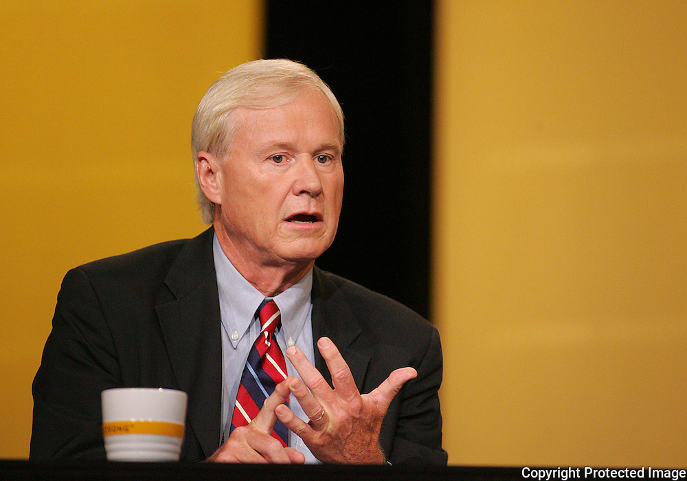 28 August 2007: MSNBC Hardball host Chris Matthews  asks a question at the LIVESTRONG Presidential Cancer Forum in Cedar Rapids, Iowa on August 28, 2007.