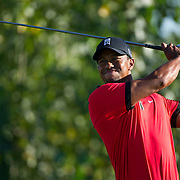 August 25, 2013:  Tiger Woods (USA) tees-off during the final round of The Barclays Fed Ex Championship at Liberty National Golf Course in Jersey City, NJ.  Kostas Lymperopoulos/csm  (Credit Image: © Kostas Lymperopoulos/Cal Sport Media)
