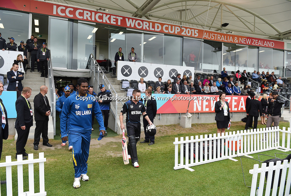Angelo Mathews and Brendon McCullum during the ICC Cricket World Cup match between New Zealand and Sri Lanka at Hagley Oval in Christchurch, New Zealand. Saturday 14 February 2015. Copyright Photo: Andrew Cornaga / www.Photosport.co.nz