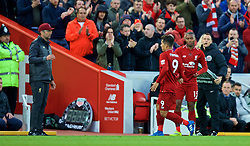 LIVERPOOL, ENGLAND - Sunday, October 7, 2018: Liverpool's manager Jürgen Klopp replaces Roberto Firmino with substitute Daniel Sturridge during the FA Premier League match between Liverpool FC and Manchester City FC at Anfield. (Pic by David Rawcliffe/Propaganda)