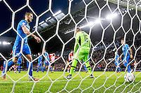 EINDHOVEN - PSV - AZ , Voetbal , Seizoen 2015/2016 , Eredivisie , Philips stadion , 29-11-2015 , AZ speler Gino Coutinho staat er verslagen bij na de eigen goal van AZ , AZ speler Jeffrey Gouweleeuw (l) haalt de bal op