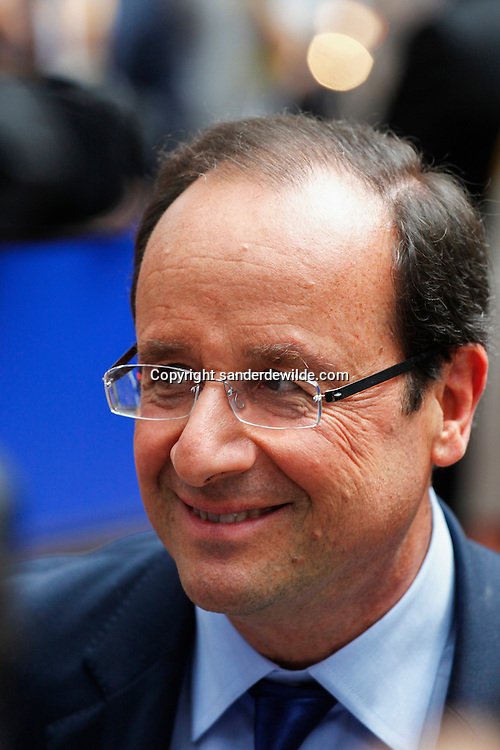 2012-06-28 Brussels. Arrivals of heads of state at the beginning of a European Summit. Francois Hollande, President of France smiling