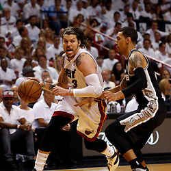 Jun 18, 2013; Miami, FL, USA; Miami Heat shooting guard Mike Miller (13) drives against San Antonio Spurs shooting guard Danny Green (4) during the first quarter of game six in the 2013 NBA Finals at American Airlines Arena.  Mandatory Credit: Derick E. Hingle-USA TODAY Sports