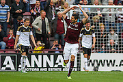 Igor Branco celebrates his goal during the Ladbrokes Scottish Premiership match between Heart of Midlothian and Aberdeen at Tynecastle Stadium, Gorgie, Scotland on 20 September 2015. Photo by Craig McAllister.
