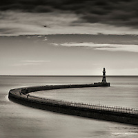 Roker Lighthouse, Roker, Sunderland, England with calm sea
