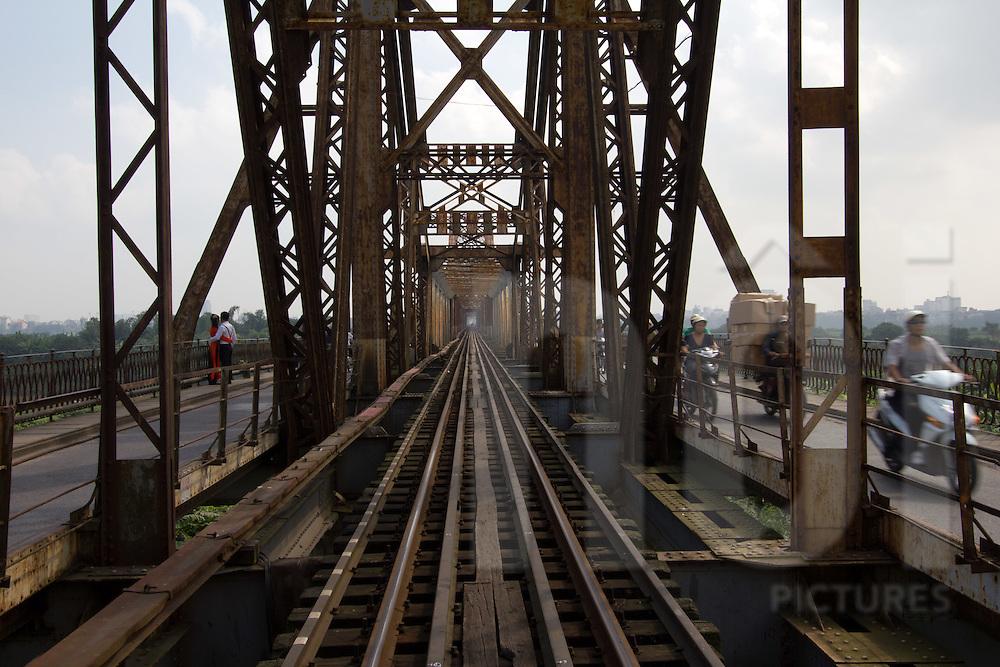 Tracks perspective of the railway in Long Bien bridge, Hanoi, Vietnam, Asia