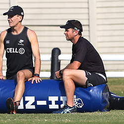 Jimmy Wright (Biokinetcist) of the Cell C Sharks with Johan Pretorius Head Strength & Conditioning Coach of the Cell C Sharks during The Cell C Sharks training session at Growthpoint Kings Park in Durban, South Africa. 27th June 2017(Photo by Steve Haag)<br /> <br /> images for social media must have consent from Steve Haag
