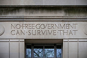 Inscriptions on the walls of the US Department of Justice.