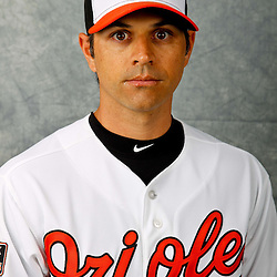 March 1, 2012; Sarasota, FL, USA; Baltimore Orioles second baseman Brian Roberts (1) poses for a portrait during photo day at the spring training headquarters.  Mandatory Credit: Derick E. Hingle-US PRESSWIRE