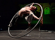 The Raunch <br /> London Wonderground, Southbank, London, Great Britain <br /> press photocall <br /> 10th May 2016 <br /> <br /> Jo Moss - Cyr Wheel <br /> <br /> Hip-hop, rapping-tapping dancing twins My Bad Sister as The Bar Room Beauties<br /> <br /> <br /> Photograph by Elliott Franks <br /> Image licensed to Elliott Franks Photography Services