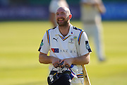 Yorkshire's Adam Lyth walks back to the pavilion at the end of the second days play during the Specsavers County Champ Div 1 match between Somerset County Cricket Club and Yorkshire County Cricket Club at the County Ground, Taunton, United Kingdom on 16 May 2016. Photo by Graham Hunt.